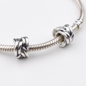 2 Authentic PANDORA Sterling Silver Braided Charms